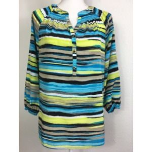 Dana Buchman Watercolor Stripe Half Button Top